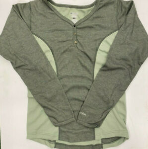 Columbia Sportswear Womens Base Layer Underwear Wicking Henley Top Mid Weight $14.00