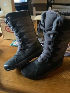 TIMBERLAND WOMEN#x27;S MT Hayes WP WINTER TALL BOOTS Black Grey Size 6 M