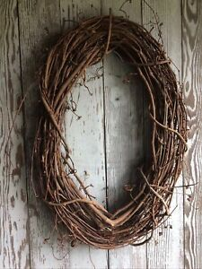 Natural Oval Grapevine Wreath 18quot; Primitive Country Farmhouse Wall Wedding Craft $29.99