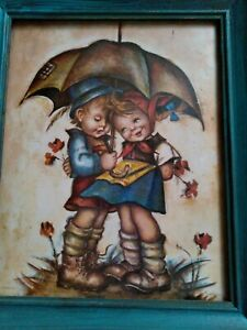 Vintage Stapco NY Lithograph 10quot;x 12quot; wood frame Evans Little Boy and Girl♡ $30.00