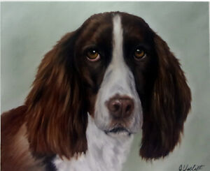 Dog Oil Painting Portrait of a Spaniel On 8x10 Wood Panel Board realism style $40.00