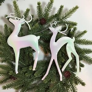 Iridescent White Modern Deer Christmas Tree Ornament Choose Style Quantity I $6.99