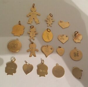 Bulk Gold Plated Necklace Pendants Jewelry or Resale Lot Of 18 Necklace Making