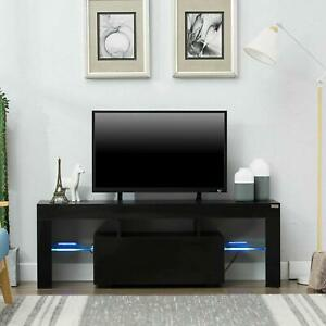 Modern Black TV Stand Unit Cabinet w LED Light 2 Drawers Console Table Wood $108.88