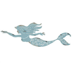 Mermaid Metal Wall Art Rustic Blue Tropical Home Wall Decor NEW $16.85
