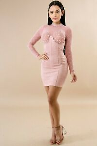 Light Pink Under Bust Strapless Faux Suede Underwire Corset Skirt Dress Large $29.99