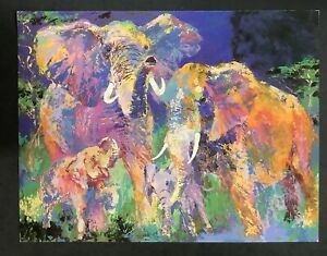 LeRoy Neiman Promotional Postcard Animal Artist Elephant Family 1983 Authentic $9.99