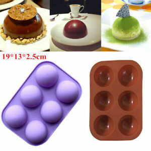 6 Cavity Half Ball Sphere Cake Silicone Molds Chocolate Baking Pans Moulds Sugar $6.65