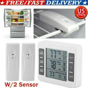 Wireless Dual Sensor Fridge Freezer Thermometer Alarm High Low Temperature USA $19.39