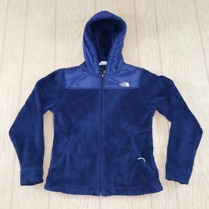 The North Face womens hooded Blue furry fleece zip up jacket size small $25.00