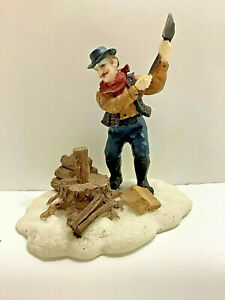 Man Chopping Wood in the Snow Small Village People $7.50