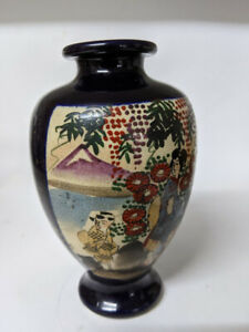 Antique Japanese Satsuma hand painted Kozan Shimazu clan cross Meiji Period Vase