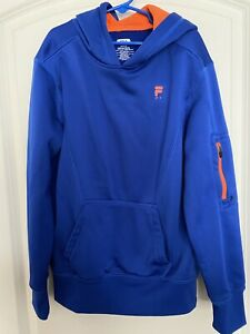 Fila Sport Boys Hoodie Sweatshirt Blue Orange Size M 10 12 Youth $10.00