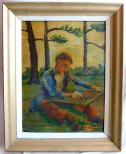 VERY WELL DONE ANTIQUE SIGNED ORIGINAL IMPRESSIONISM OIL PAINTING $125.00