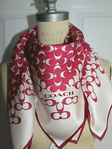 NWT $138 COACH Women#x27;s Electric Pink SIG C 100% Silk BIAS SQUARE Scarf $71.72
