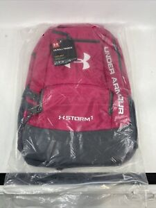 NEW Under Armour Padded Backpack Hustle II Storm1 Tropic Pink Gray Unisex $34.99
