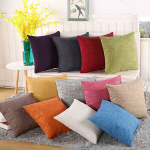 18quot; Cotton Linen Sofa Car Home Waist Cushion Cover Throw Pillow Case Plain $1.23