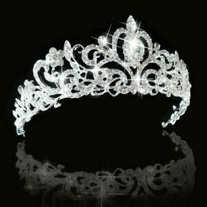 Queen Tiara Crown Wedding Bridal Party Prom Pageant Silver $9.99