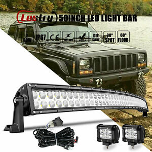 For Jeep Cherokee XJ Front Upper Roof 50 Curved LED Light Bar Combo4 Pods Kit $98.97