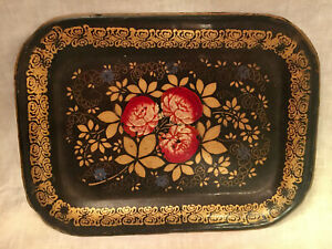 Small Antique ROSES amp; GOLD TOLE TRAY $19.95