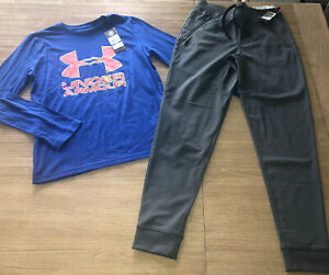 NEW NWT Boys UNDER ARMOUR Long Sleeve Top Gray Pennant Jogger Pants RV $65 XMAS $37.00