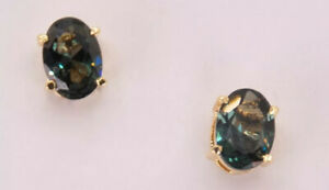 Natural smoky topaz 18k yellow gold plated stud earrings $38.00
