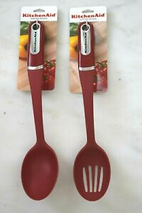 KitchenAid Classic Empire Red Set Slotted amp; Basting Spoon 14quot; Heat Resistant NEW $29.99