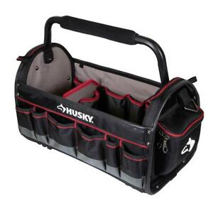 Husky Pro Tool Tote 20 in Removable Tool Bag Wall Padded Handle Water Resistant