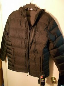 NWT Mens Medium Black Under Armour Outerbound Down Hooded Jacket $250 1323834 $90.00