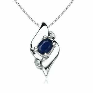 Shell Style Oval Sapphire and Diamond Pendant Necklace Silver Gold Platinum
