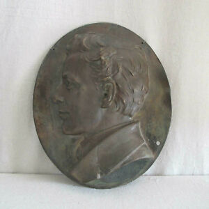 Henry Baerer Bronze Portrait Relief of a Young Man 1878 Signed Antique Sculpture $2495.00