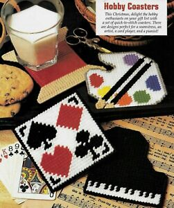 4 HOBBY COASTERS PIANO SEWING CARDS PAINTING PLASTIC CANVAS PATTERN INSTRUCTIONS