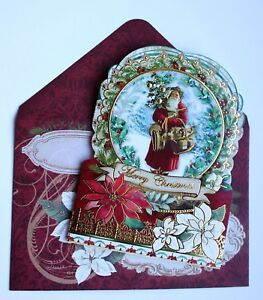 *POOCH amp; SWEETHEART Set of 4 Gold Foil Christmas Blank Note Card Old World Santa $6.99
