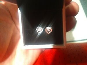 Pandora Sterling Earrings Heart Shaped with Diamonds or Crystals in Original Box