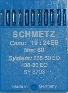 Schmetz Needles Package of 10 CANU 19:24 EB NM:80 System 265 50 EO 438 80 #003 $7.00