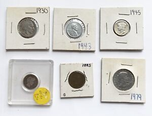 Vintage Coin lot of 6 1913 S Barber Dime 1885 Indian Head Penny amp; more $29.99