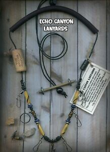 Fly Fishing Lanyard USA Handcrafted w Tippet HolderBuffalo Horn amp; Natural Beads