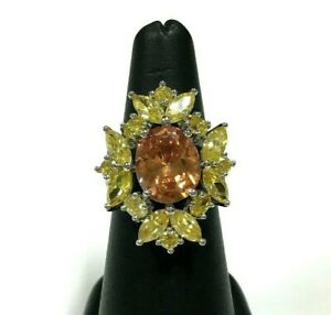 Big Brilliant .925 STERLING Topaz Citrine Yellow CZ Cocktail Ring Size 7.5 zz54g