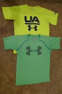 Youth Kids Under Armour LOT Neon Yellow amp; Green SS Logo T Shirts Size Small $15.99