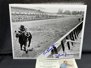 Secretariat Ron Turcotte Signed FAMOUS Belmont Photo B W w Picture COA $24.99