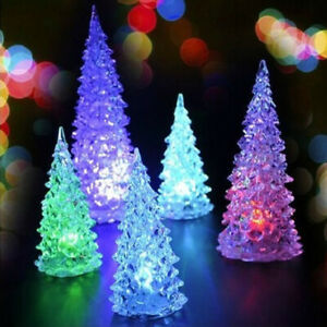 Christmas Tree Ice Crystal Colorful Changing LED Desk Xmas Decor Party Ornaments $3.60