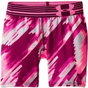 Girls Under Armour Shorts Heat Gear Size Small Pink 5quot; Printed Shorty NWT $19.99