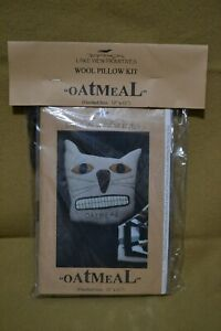 WOOL KIT CAT PILLOW COMPLETE WITH WOOL FLOSS amp; PATTERN quot;OATMEALquot; *FUN* $10.00