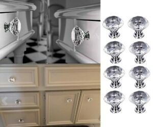 5 10PCS Clear Crystal Diamond Glass Door Knobs Cupboard Drawer Cabinet Handle US $9.43