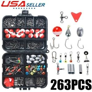 263Pcs Fish Tackle Box Fishing Accessories Case Hook Lure Sinker Set Kit Floats