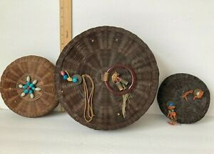 2 VINTAGE ASIAN Round WICKER SEWING BASKETS w LIDS Beads Bangle Coin 10quot; amp; 7quot; $17.95