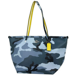 Coach Camouflage Pattern Tote Bag Shoulder Mens Leather Blue Yellow F3409 25338