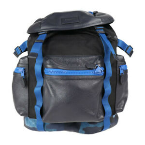 Coach Camouflage F56876 Ruck Sack Day Pack Leather Nylon Navy Blue Genuin 15270