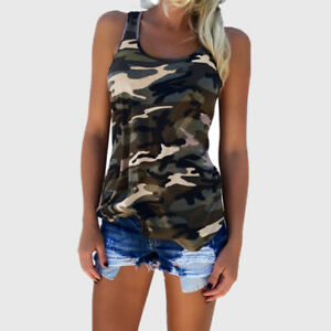 Camouflage Women Tank Tops Sleeveless Vest Sports Gym Fitness Muscle T shirt