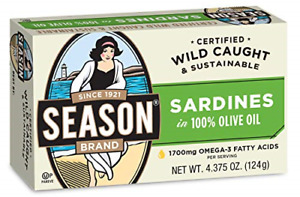 Season Sardines in Pure Olive Oil 4.375 Ounce Tins Pack of 12